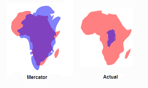 Greenland vs Africa: Mercator